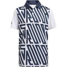 Obrázok ku produktu Juniorská polokošeľa adidas golf Printed pre chlapcov biela s tmavomodrou potlačou