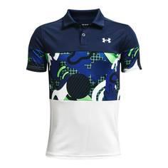 Obrázok ku produktu Juniorská polokošeľa Under Armour golf Performance Cool Supplies Polo biela/modrá/vzor
