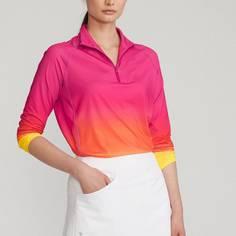 Obrázok ku produktu Dámske tričko Ralph Lauren RLX PRINTED 1/4 ZIP LS KNIT ružovo-oranžové ombré