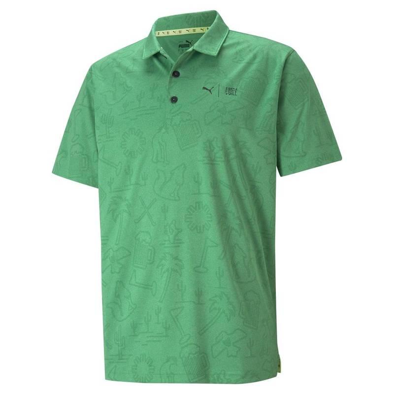 Obrázok ku produktu Pánska polokošeľa Puma Golf First Mile zelená, recyklovaný materiál, inšpirovaný turnajom Phoenix Open