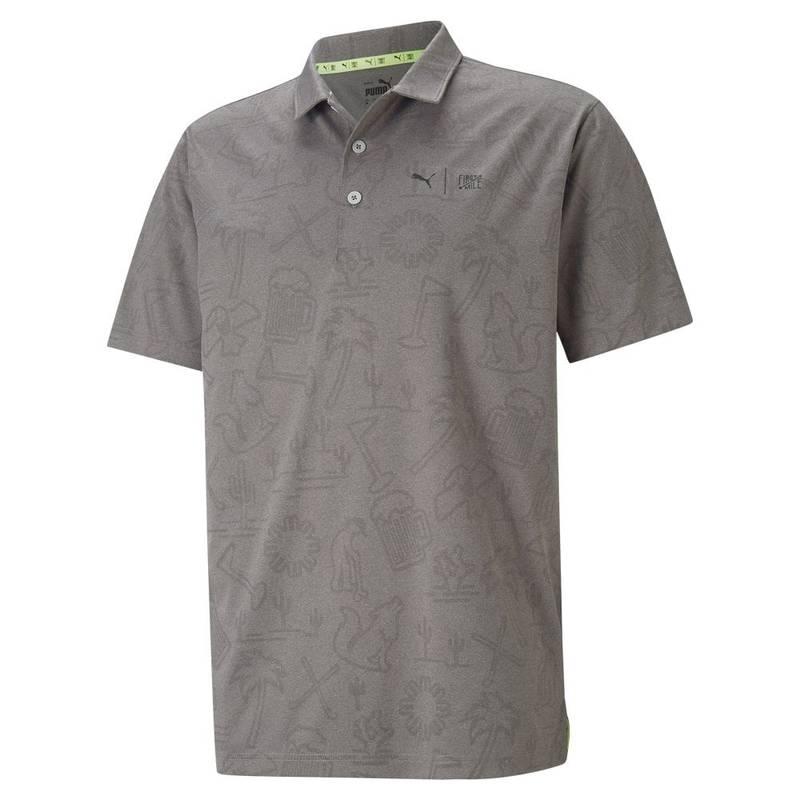 Obrázok ku produktu Pánska polokošeľa Puma Golf First Mile šedá, recyklovaný materiál, inšpirovaná turnajom Phoenix Open
