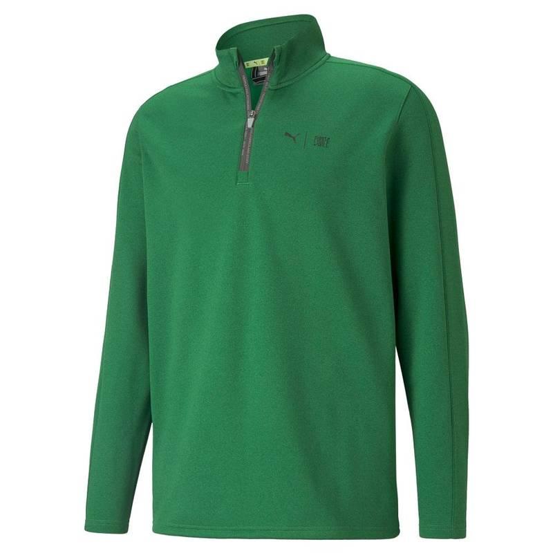 Obrázok ku produktu Pánska mikina Puma Golf First Mile Flash 1/4 Zip zelená, recyklovaný materiál, inšpirovaný turnajom Phoenix Open